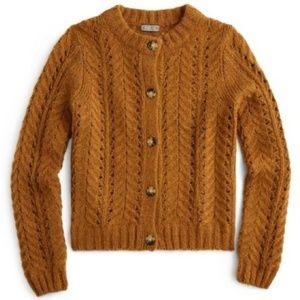 J. Crew Point Sur Pointelle Knit Cardigan Sweater
